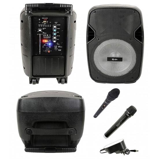 Cassa acustica attiva amplificata Karaoke portatile ricaricabile con Bluetooth, Radio, USB, SD, MP3, Microfoni Wireless, Ingresso Chitarra, Effetto Luce LED