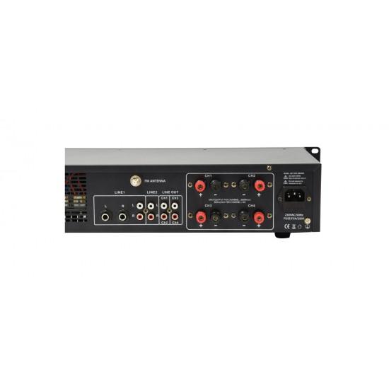 Doppio Amplificatore Stereo Doppia Zona A4 4 x 200W bluetooth e telecomando