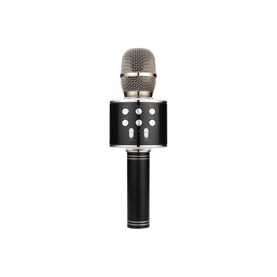 Microfono Senza Filo per Karaoke Nero con Bluetooth, Radio, Micro SD, Lettore MP3 e USB. Versione Italiana con Manuale Italiano
