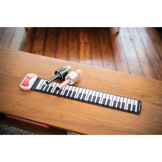Microfono Senza Filo per Karaoke Rosa con Bluetooth, Radio, Micro SD, Lettore MP3 e USB. Versione Italiana con Manuale Italiano