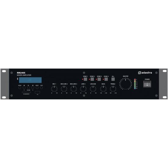 Amplificatore Multizona 100V 8 Ohm con mixer amplificato bluetooth radio ed mp3 240 Watt RM240S