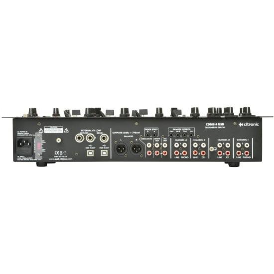 "Mixer audio per DJ a 4 canali con ingresso USB montabile a rack 19"" - CDM8"