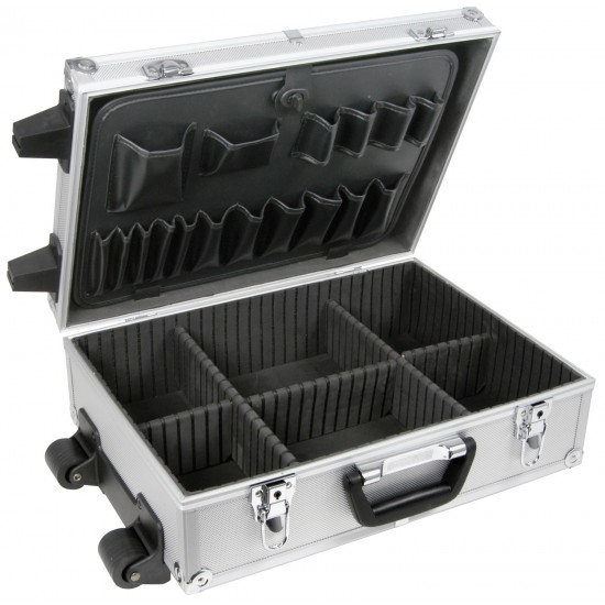 Cassetta porta attrezzi flightcase in alluminio con carello trolley