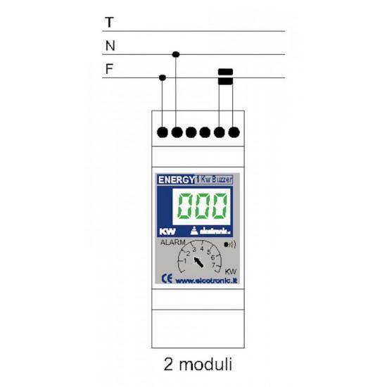 Misuratore di consumo istantaneo, allarme - Energy B20 Guida DIN