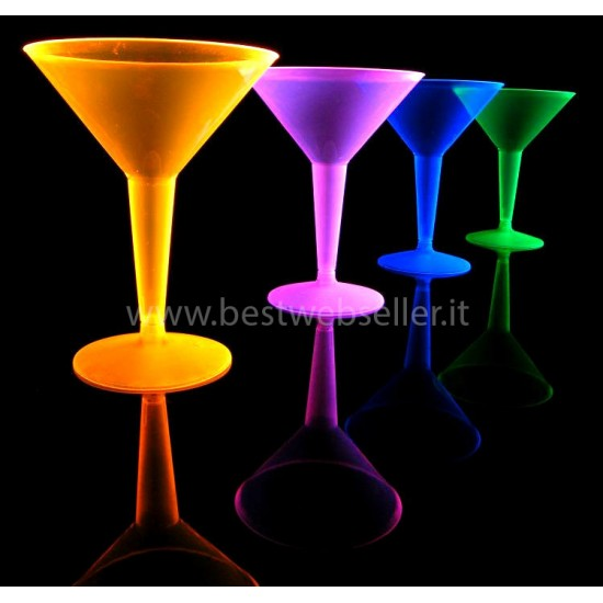 4 Bicchieri Reagenti Agli UV Wood Glow Fluo Martini - MOD2