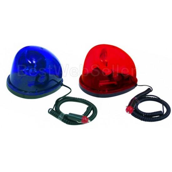 Lampeggiante A Goccia Con Magnete Auto Polizia BLU + ROSSO