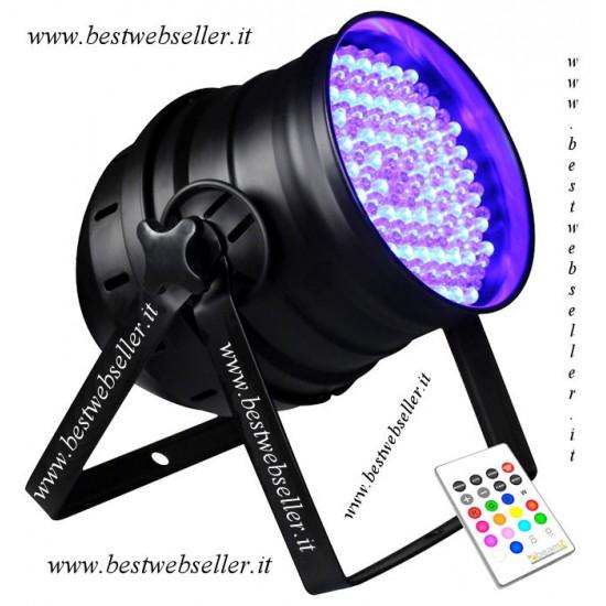 Proiettore Faro Par 64 Par64 DMX LED RGB + Strobo + Telecomando