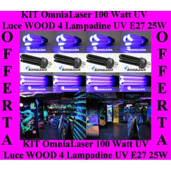 OmniaLaser - KIT 4 x Lampadina Di Wood UV a Raggi Ultravioletti