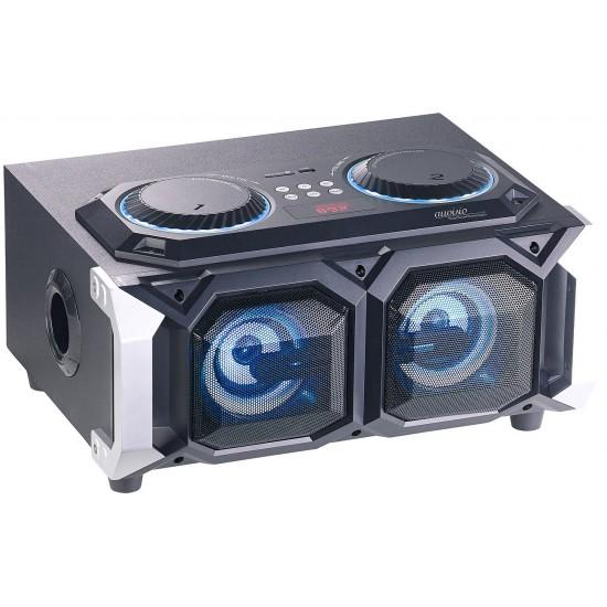 Impianto audio per karaoke con Bluetooth USB Slot SD MP3 Radio luce LED Ingressi Microfono