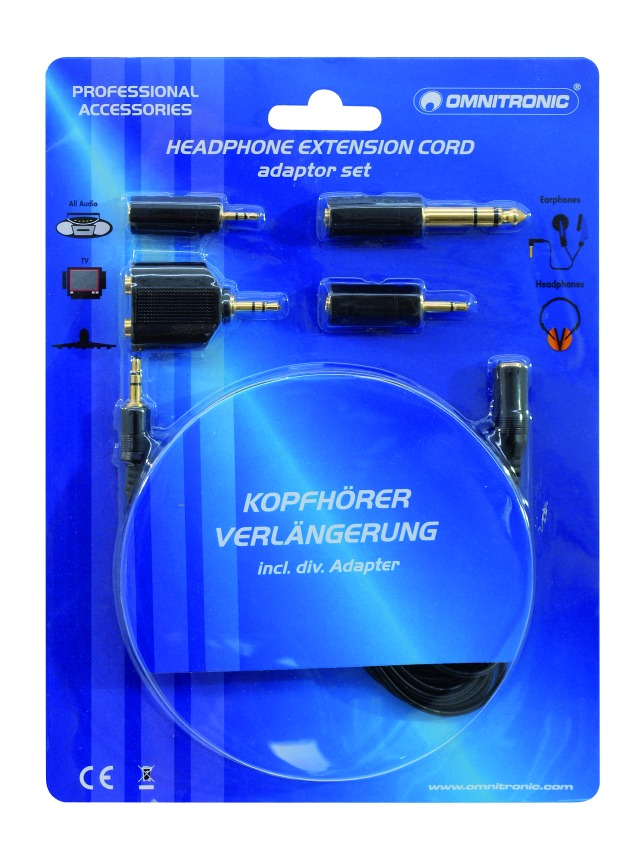 Headphone extension 3m with adaptor set