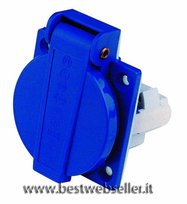 Electric mounting socket blu 230V 16A