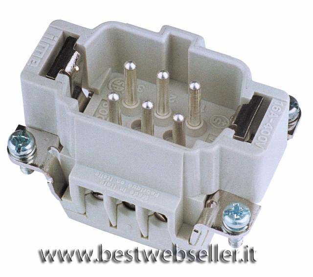 Plug insert 6-pin 16A, screw terminal
