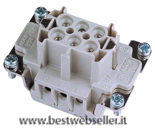Socket insert 6-pin 16A, screw terminal