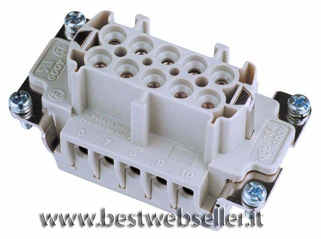 Socket insert 10-pin 16A, screw terminal