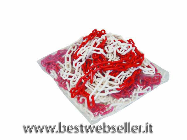 Plastic chain rosso/colore bianco 8mm 25m length
