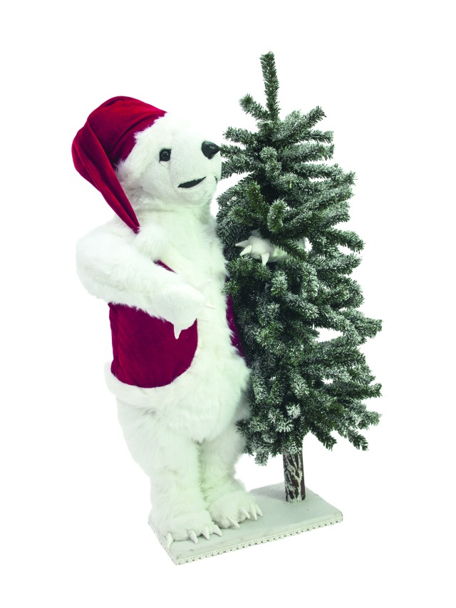 Polar bear, with snowy fir, 105cm