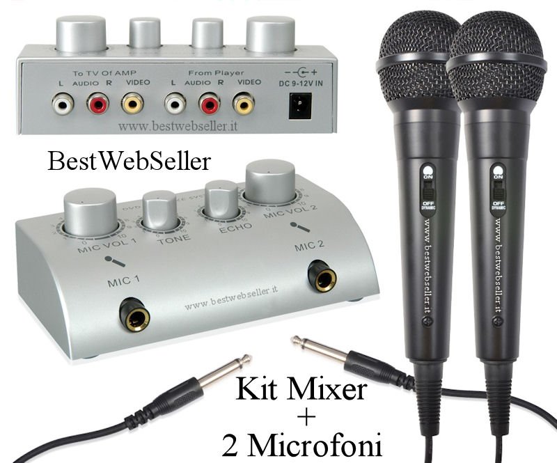 Kit Audio: Mixer Con Effetto Echo + 2 Microfoni - BWS155