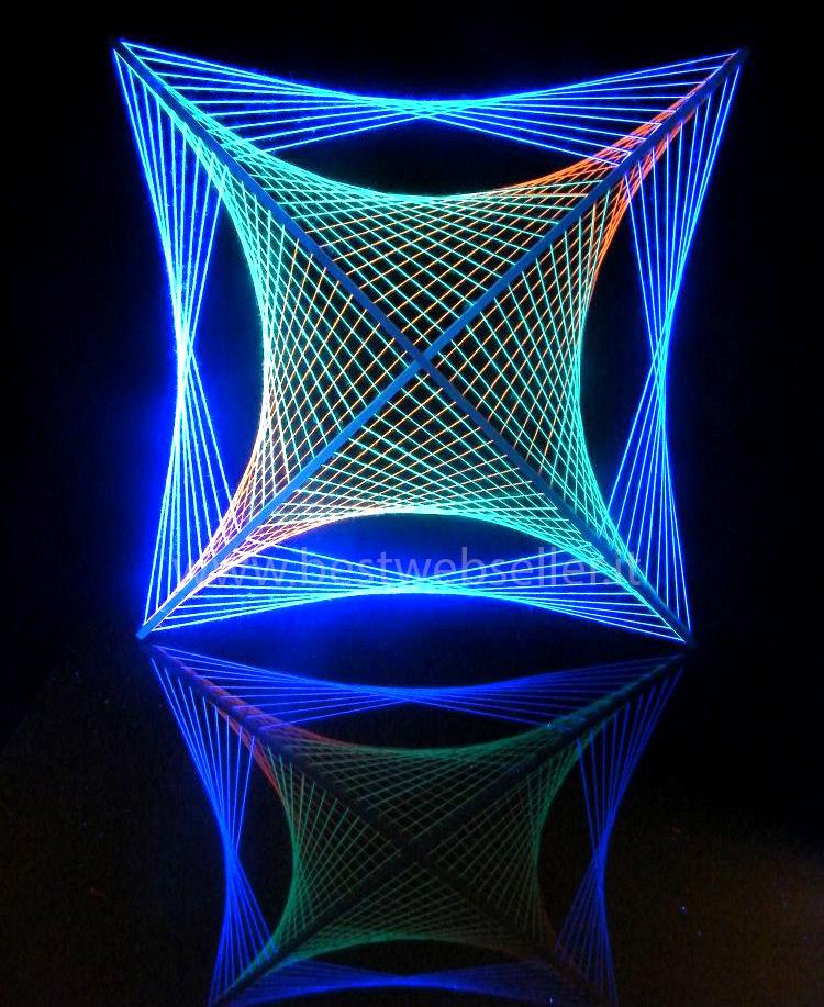 Tela String Art Reagente Agli Uv Wood Glow Fluo Mod4
