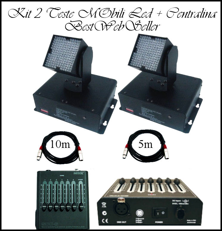 Kit 2 x Testa Mobile Led DMX + 2 Cavi + Centralina DMX